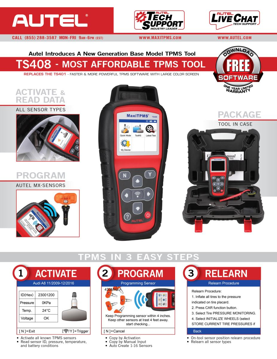 Autel TS408 Instruction