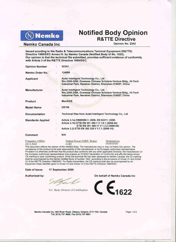 autel ds708 ce document