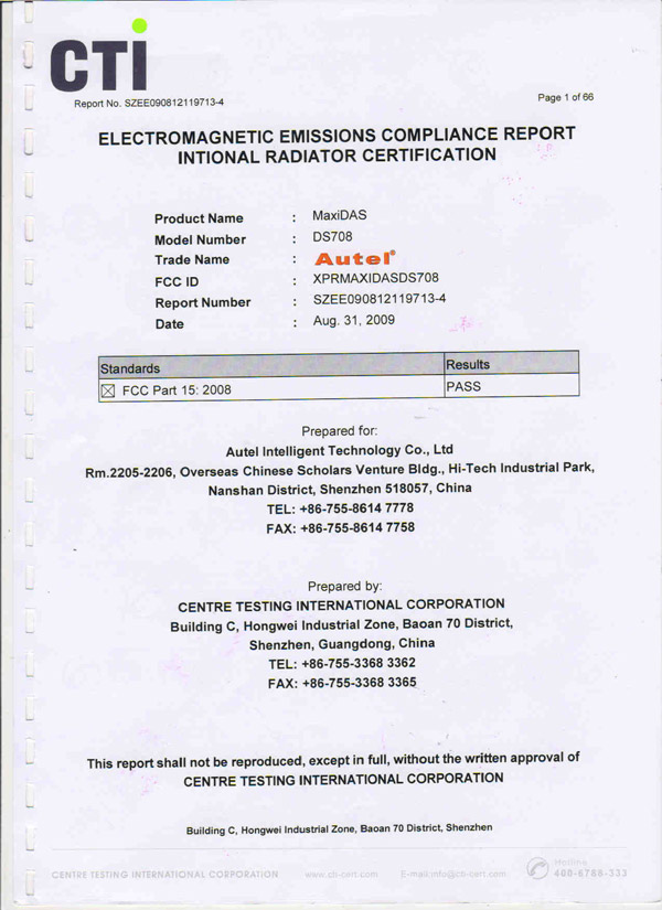 autel ds708 fcc document